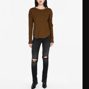 Ribbed Shirttail Hem Sweater